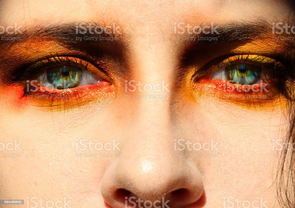 close-up of woman's eyes, makeup stock photo