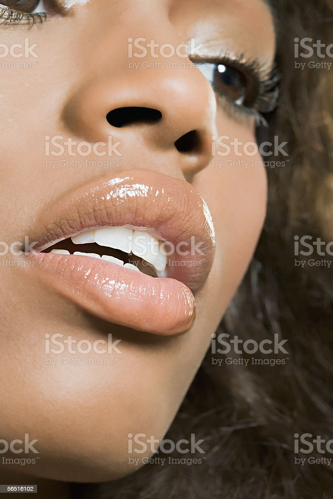 Close-up of woman's face stock photo