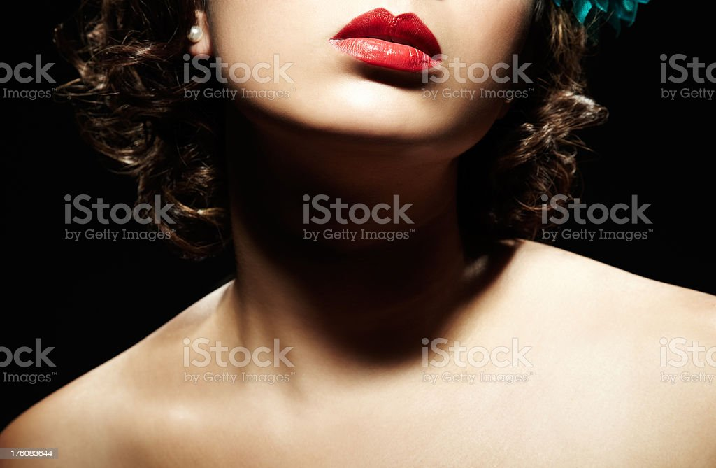 Close-up of Woman's Lips, Chin, and Neck stock photo