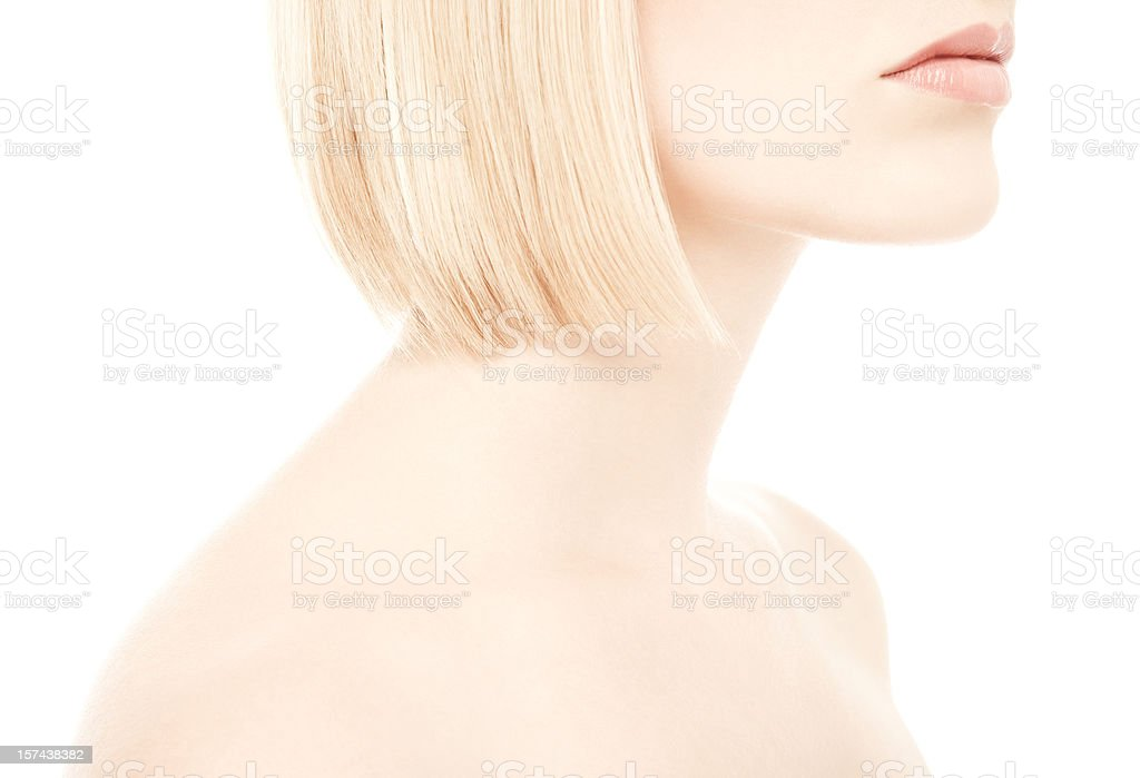 Closeup of Woman's Neck and Shoulders stock photo