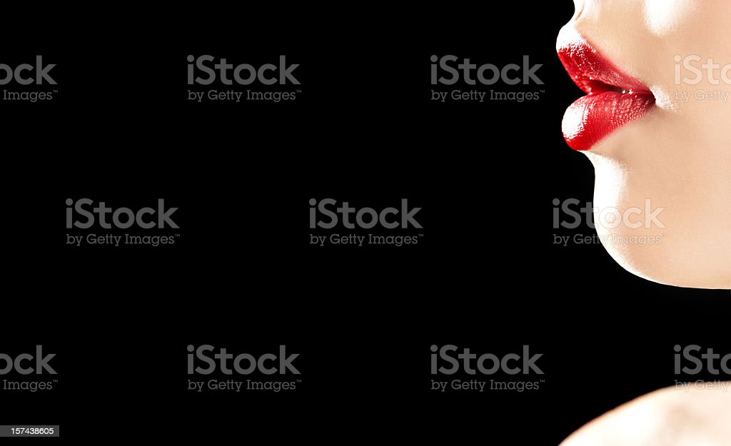 Close-up of Woman's red Lips royalty-free stock photo