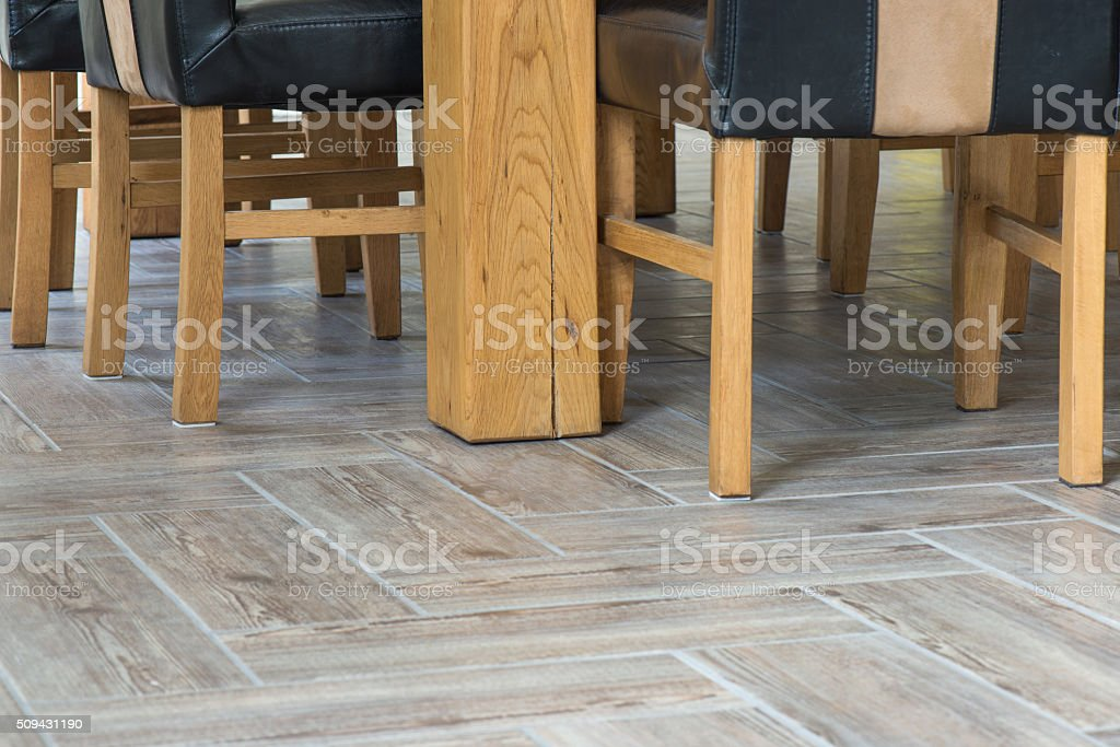 Closeup of wooden chairs and table legs stock photo
