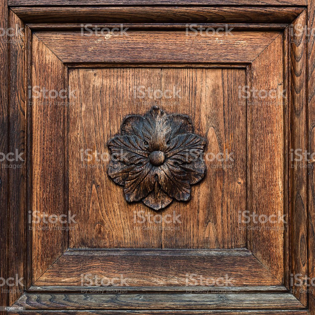 Closeup of wooden frame with floral element. stock photo