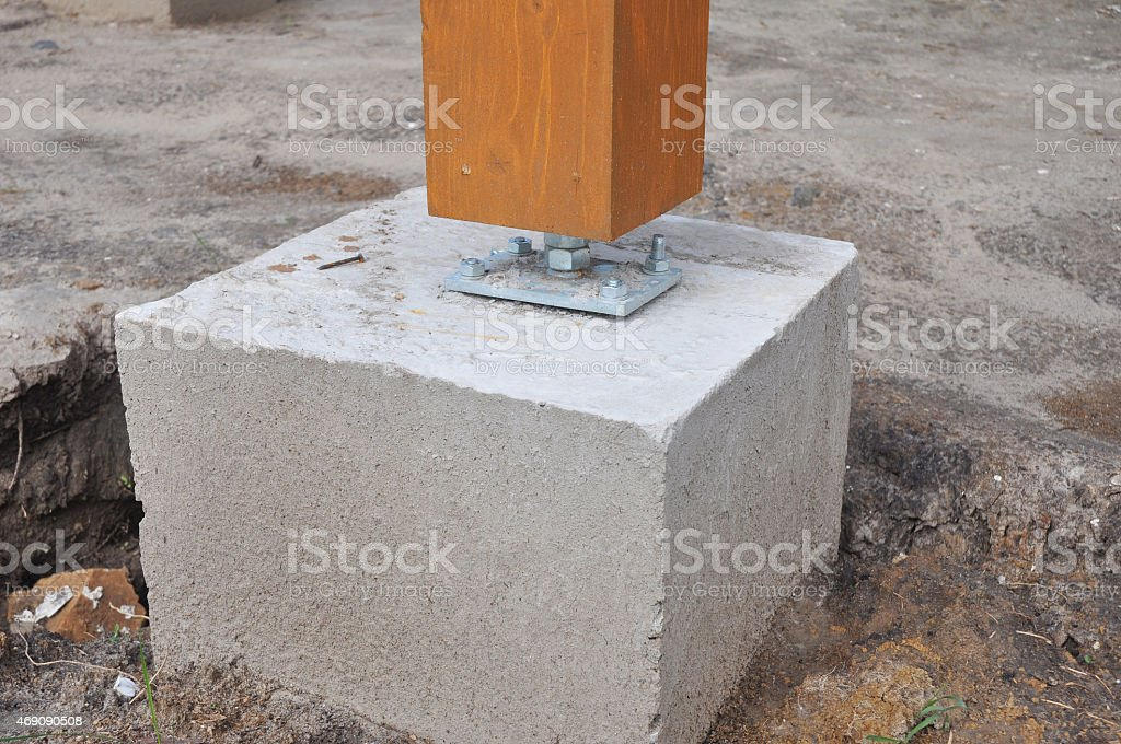 Closeup of wooden pillar on the construction site with screw stock photo