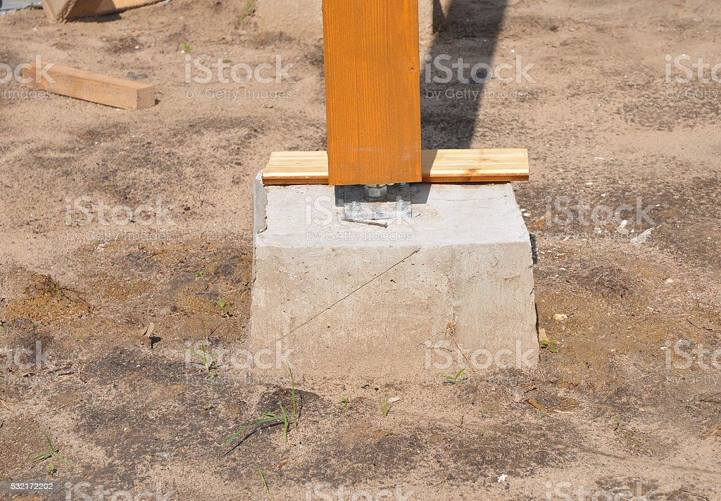 Closeup of wooden pillar on the construction site with screw. stock photo