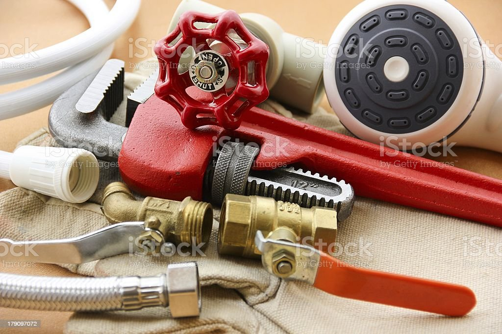 Close-up of work tools for fixing shower head stock photo