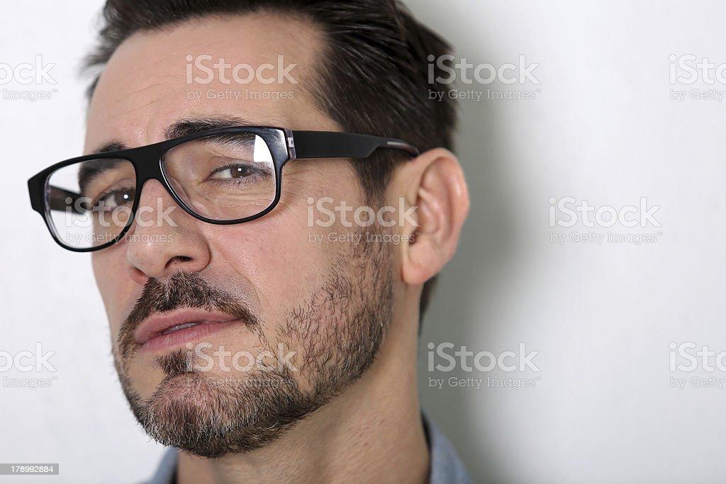 Closeup of worried man royalty-free stock photo
