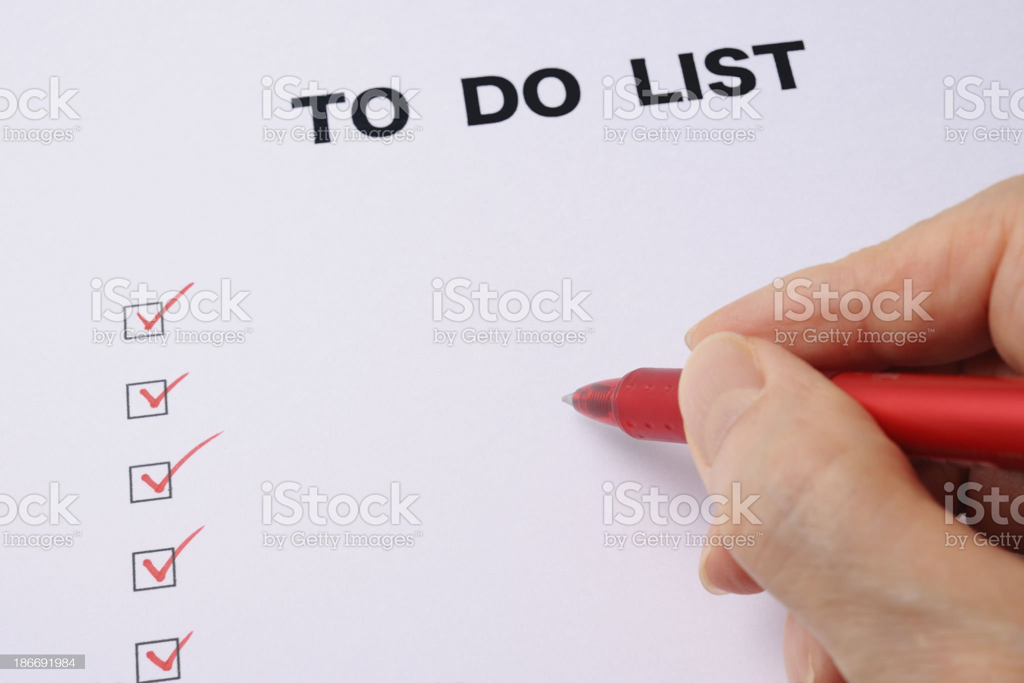 Close-up of writing a blank To Do List royalty-free stock photo