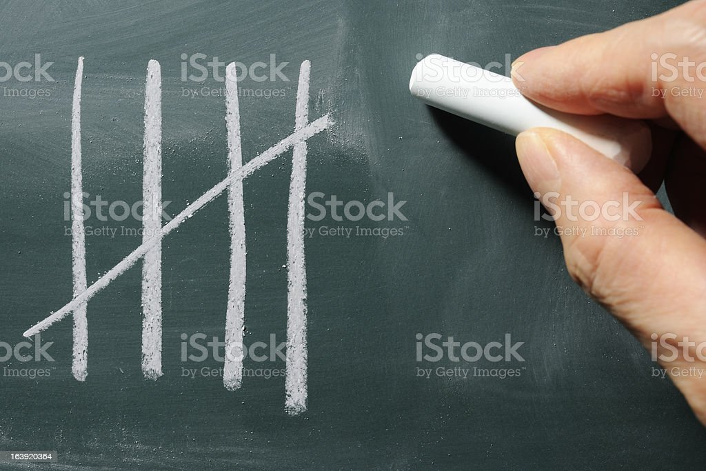 Close-up of writing a counting on blackboard royalty-free stock photo