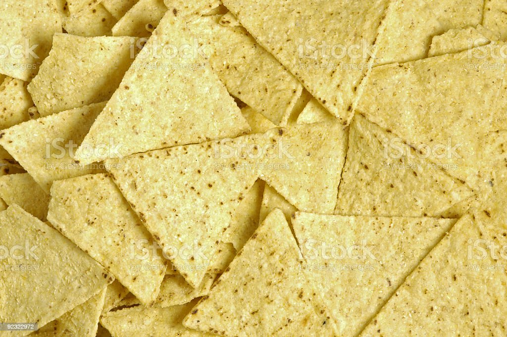 Close-up of yellow triangle chips stock photo