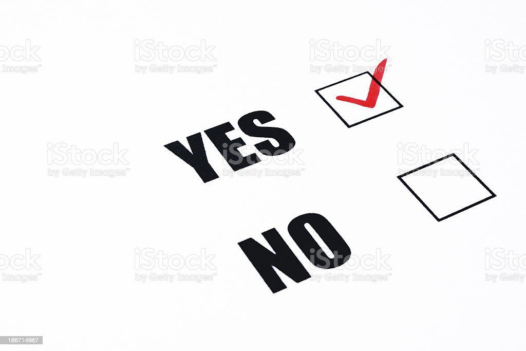 Close-up of YES or NO check box on white background royalty-free stock photo