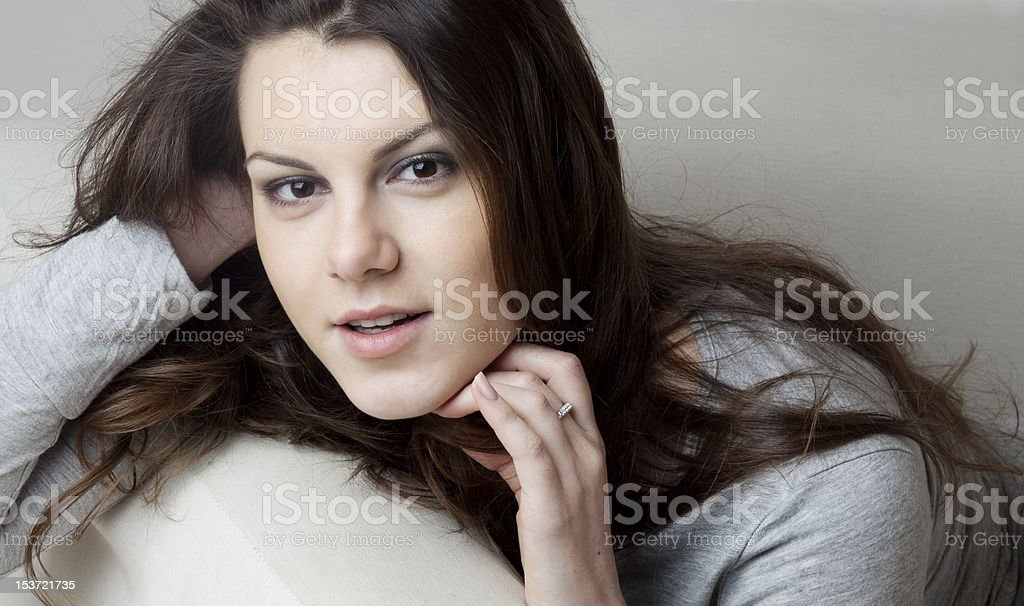 Close-up of young beautiful woman smiling stock photo