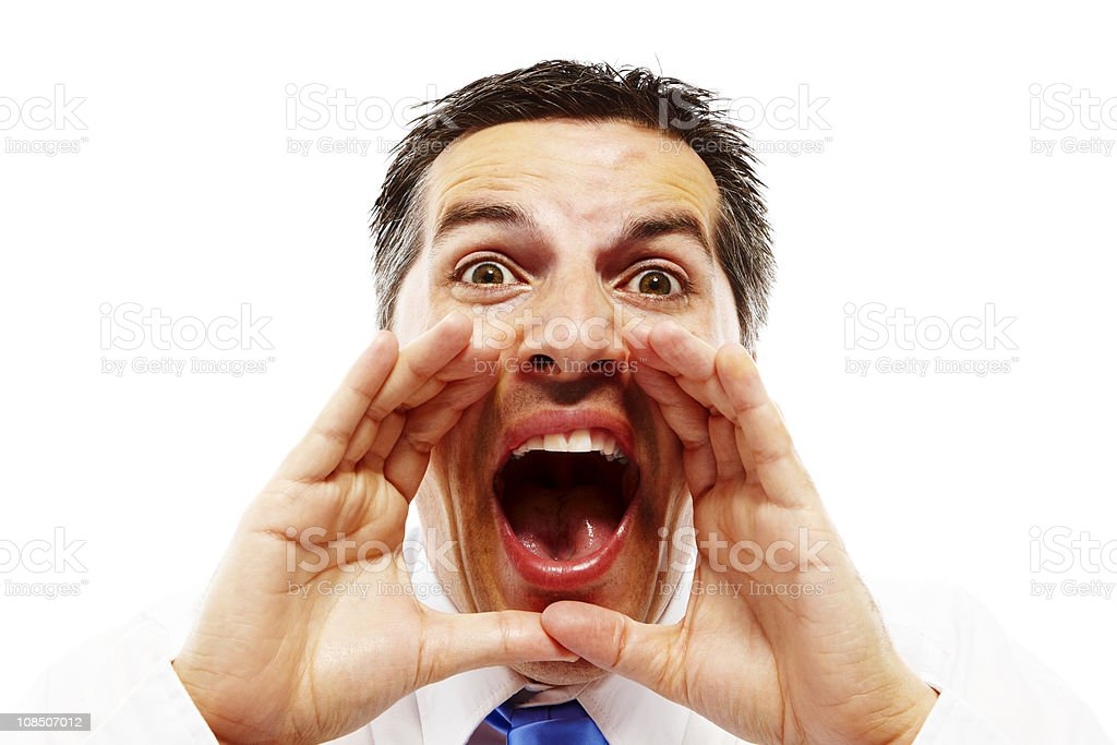 closeup of young businessman screaming isolated on white royalty-free stock photo