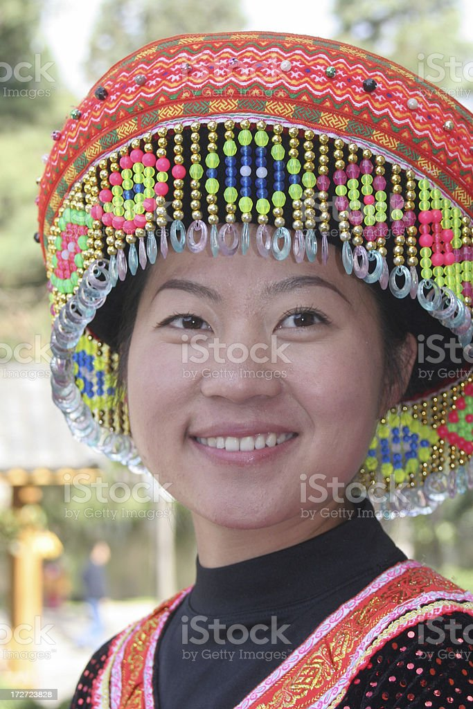 Close-up of Young Chinese Woman in Cultural Attire royalty-free stock photo