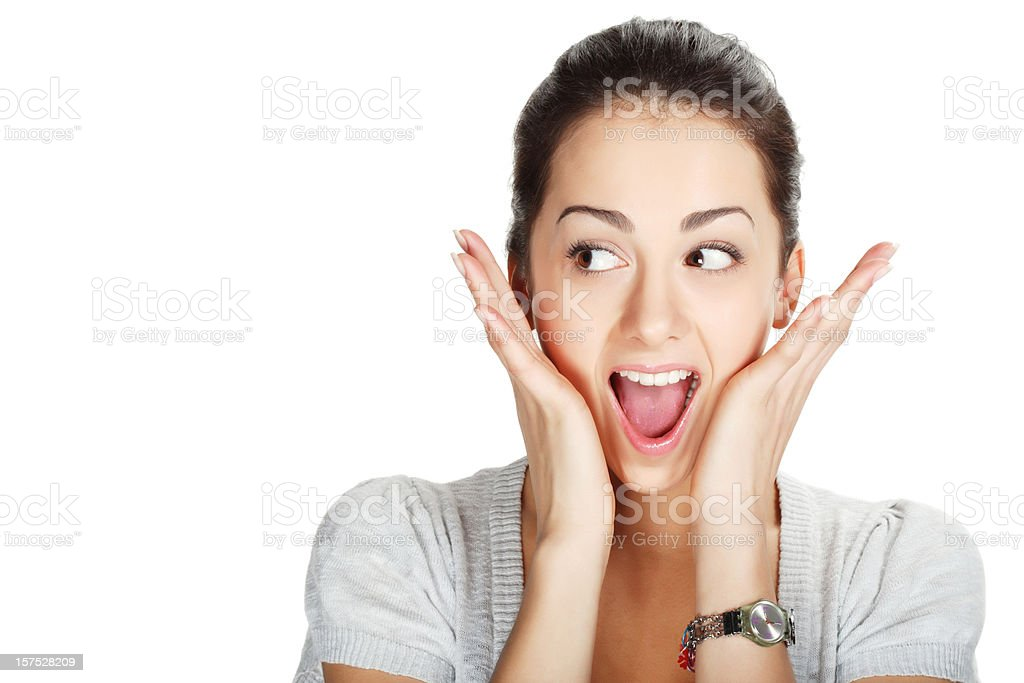 Close-up of young woman looking surprised royalty-free stock photo
