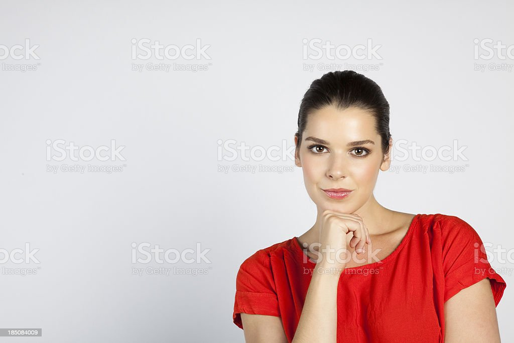 Closeup of young woman thinking royalty-free stock photo