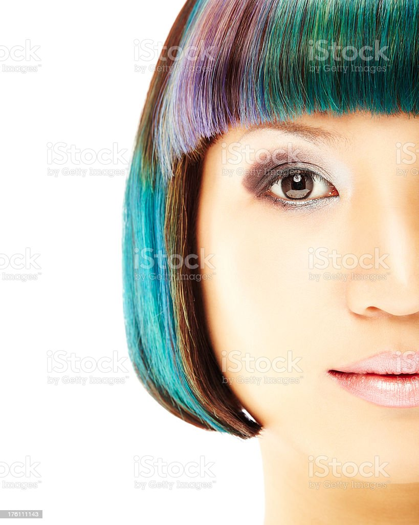 Close-up of Young Woman With Multicolored Hair royalty-free stock photo