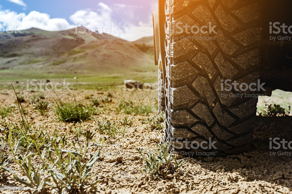 Closeup offroad car wheel concept stock photo