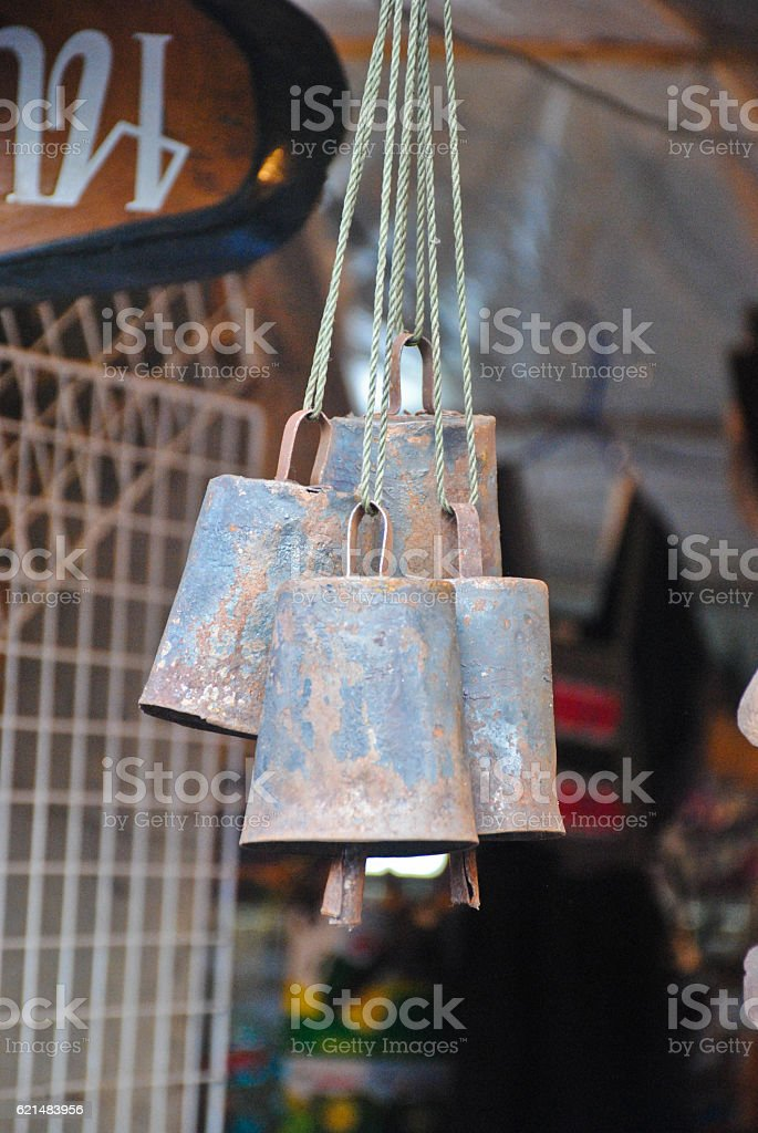 Close-up old bell hanging for sell in the stores. stock photo