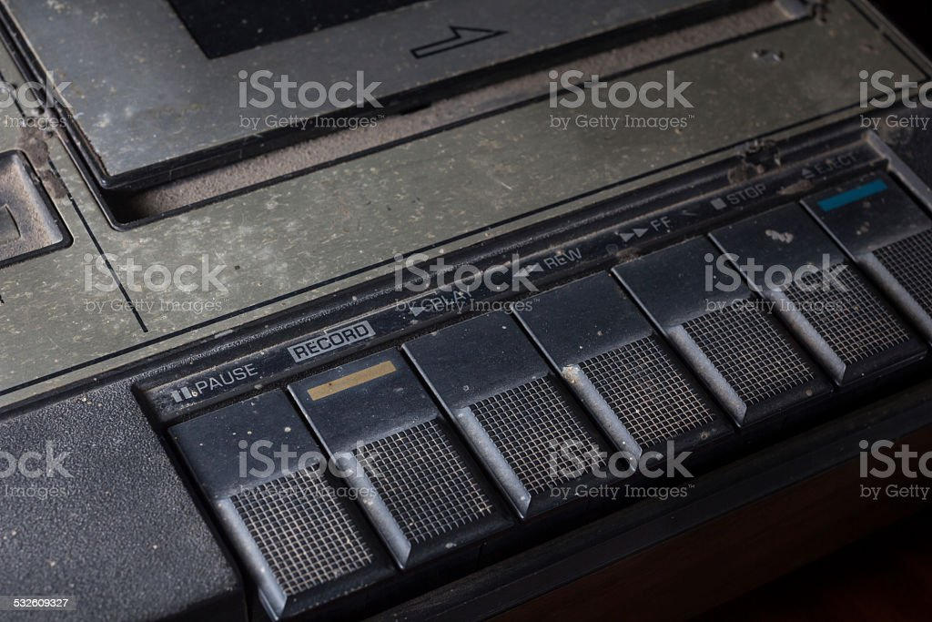 Closeup old cassette player. stock photo