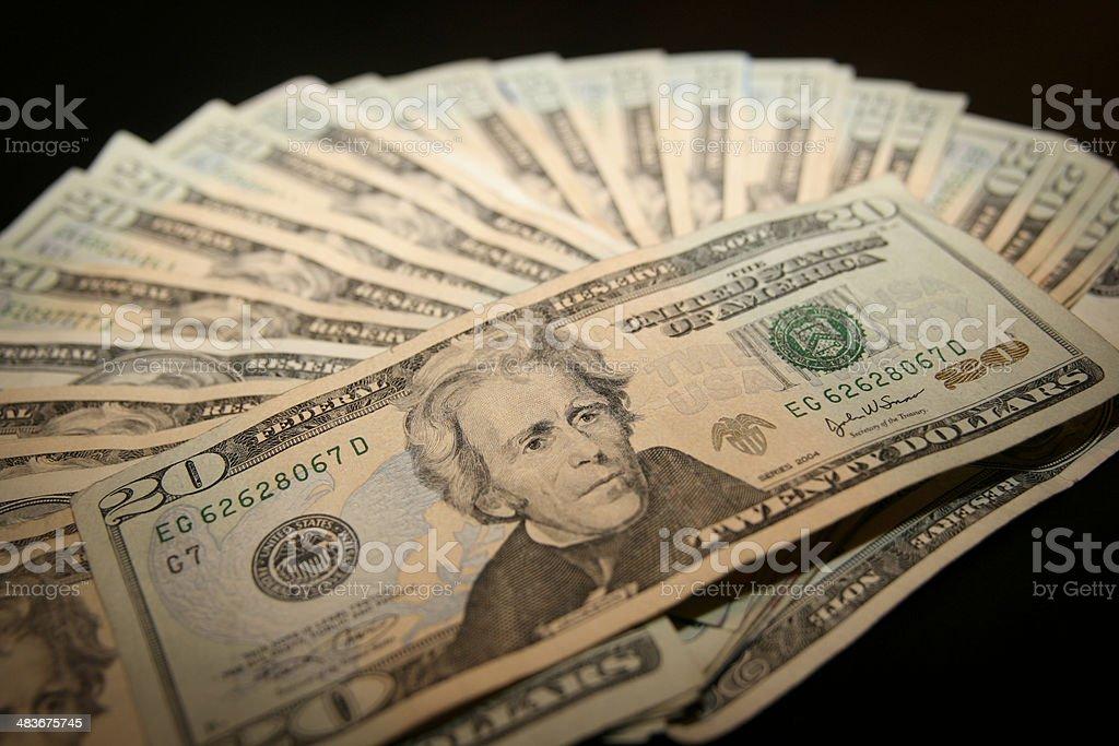 Closeup on 20 dollar bills royalty-free stock photo