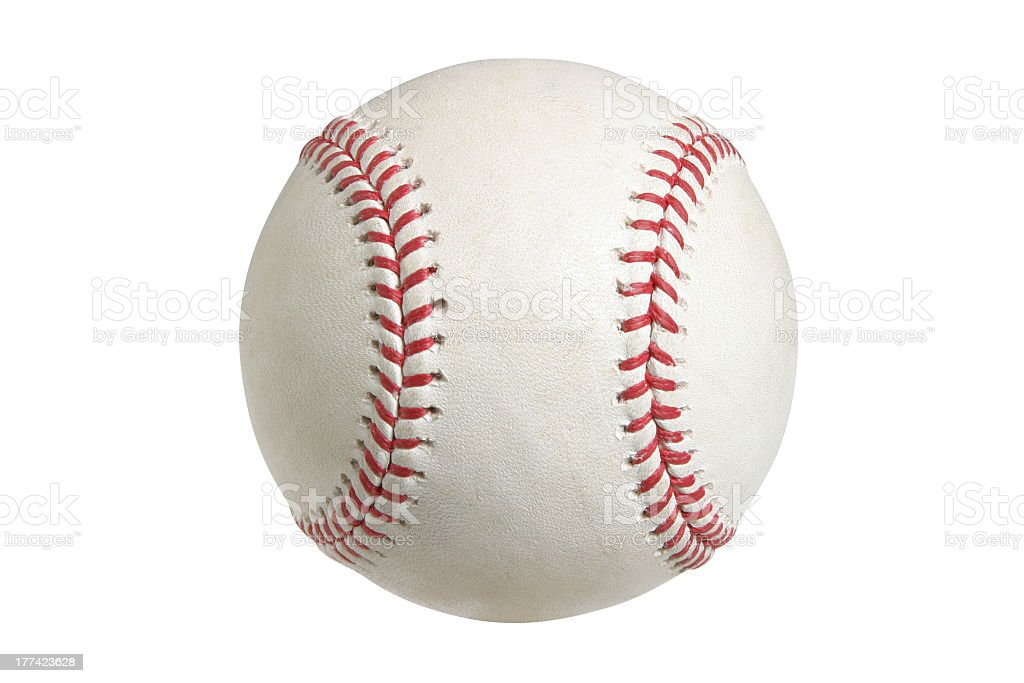 Closeup on a baseball against white background royalty-free stock photo