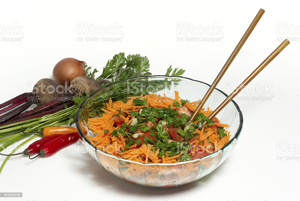 closeup on a fresh salad bowl. royalty-free stock photo