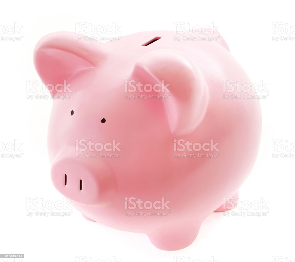 Closeup on a pink piggybank over a white background royalty-free stock photo
