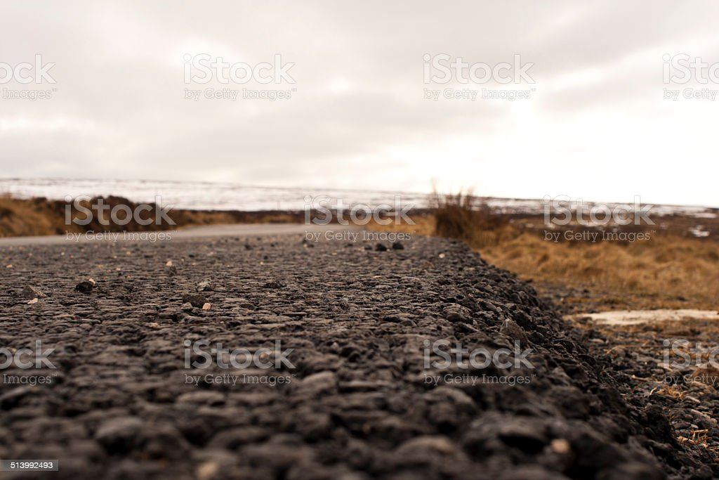 Closeup on a road in Wicklow Mountains stock photo