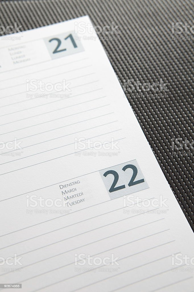 Close-up on an open agenda. stock photo