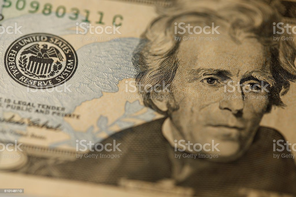 Close-up on Andrew Jackson stock photo