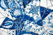 Close-up on Antique Dutch Delft Blue Mosaic Tiles