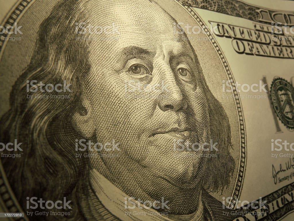 Close-up on Benjamin Franklin stock photo