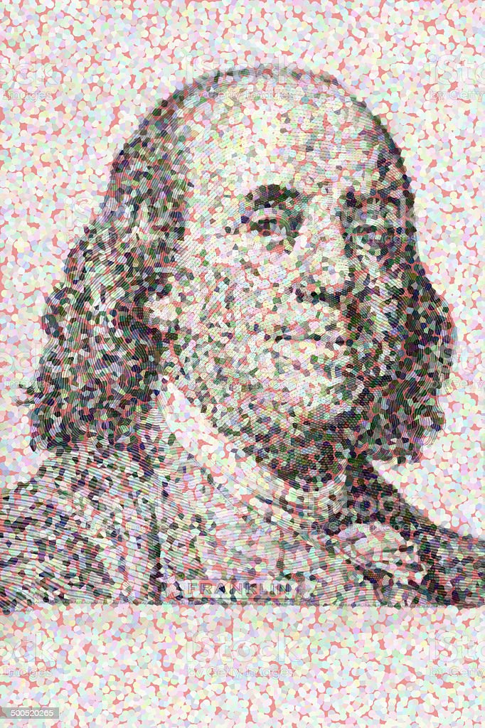 Close-up on Benjamin Franklin royalty-free stock photo