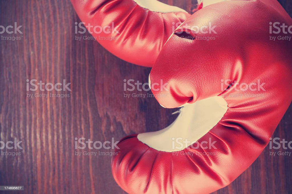 Close-up on boxing gloves royalty-free stock photo