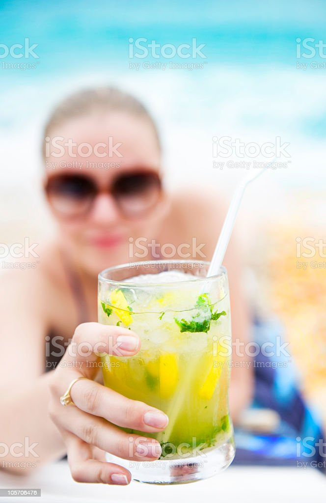 Closeup on cold refreshing cocktail royalty-free stock photo
