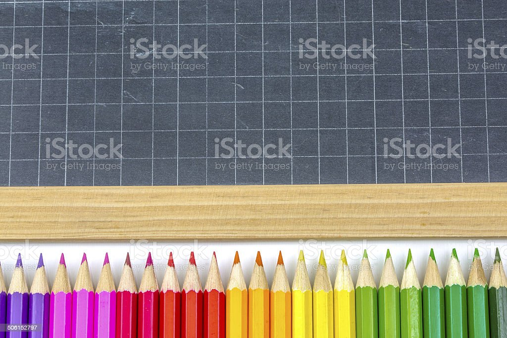 Closeup on colorful school supplies royalty-free stock photo