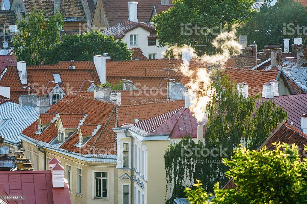 Closeup on courtyard of Old town, Tallinn stock photo