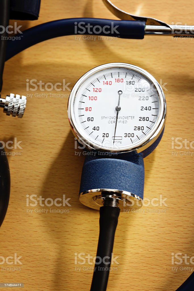 Close-up on dial of blood-pressure measuring device stock photo