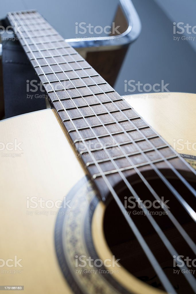 Close-up on guitar fretboard royalty-free stock photo