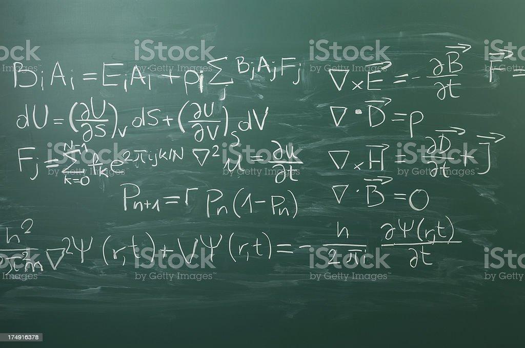 Close-up on hand written physics formula, blackboard stock photo