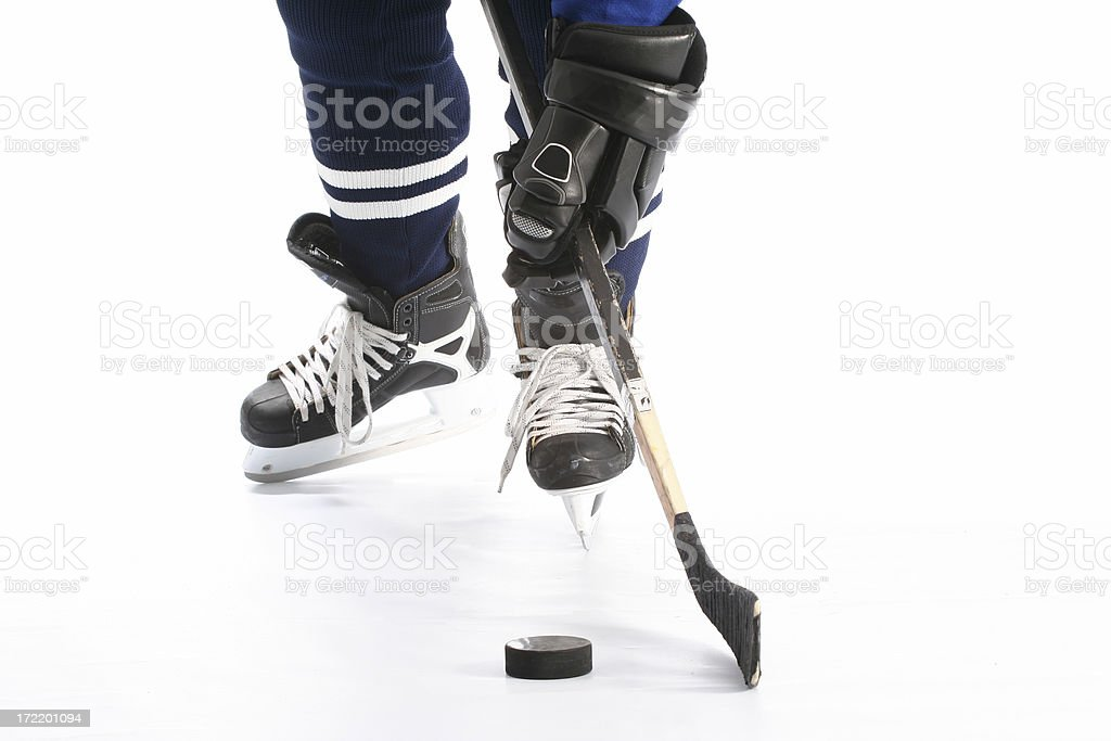 Close-up on hockey player  legs royalty-free stock photo