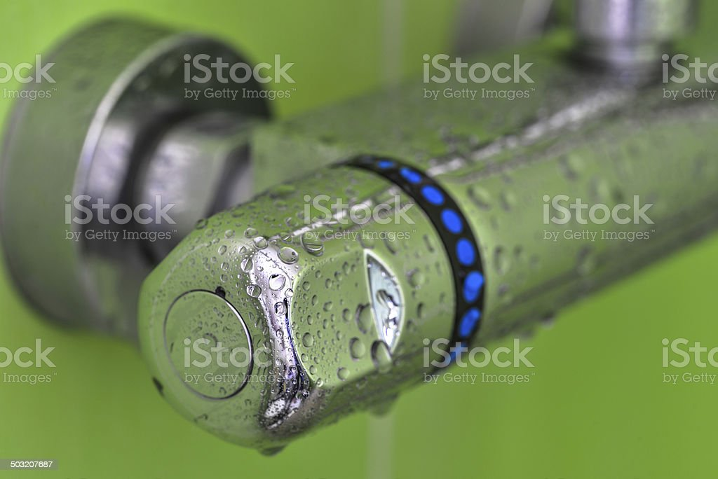 closeup on mixer tap shower royalty-free stock photo