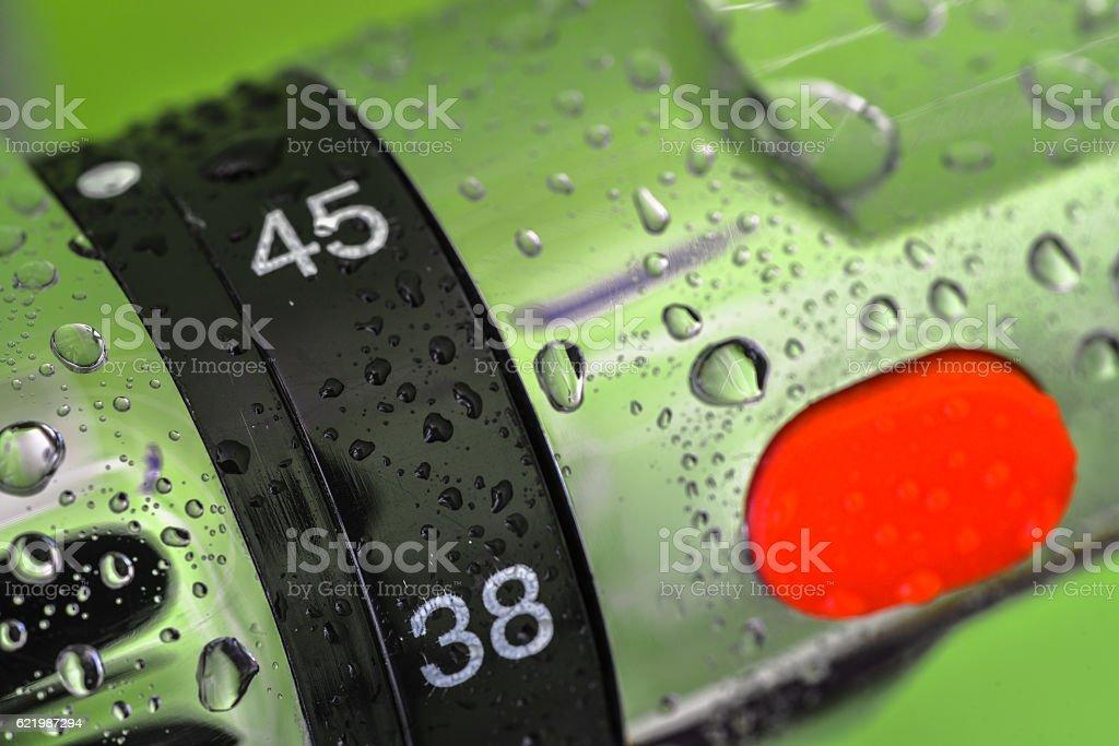 closeup on mixer tap shower stock photo