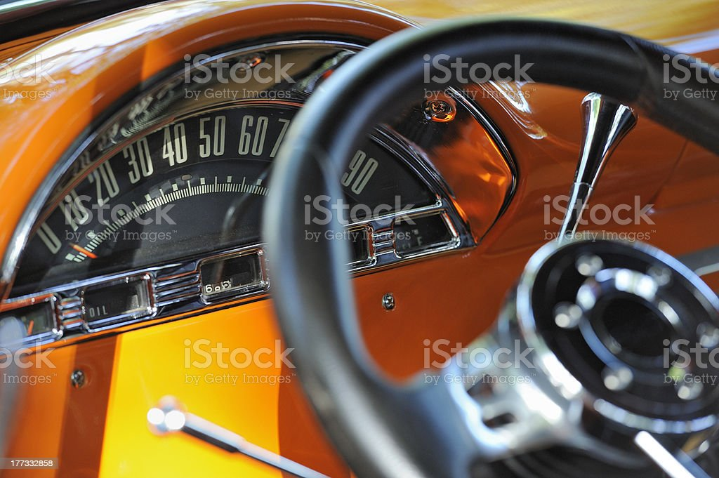 Closeup on old odomoeter royalty-free stock photo