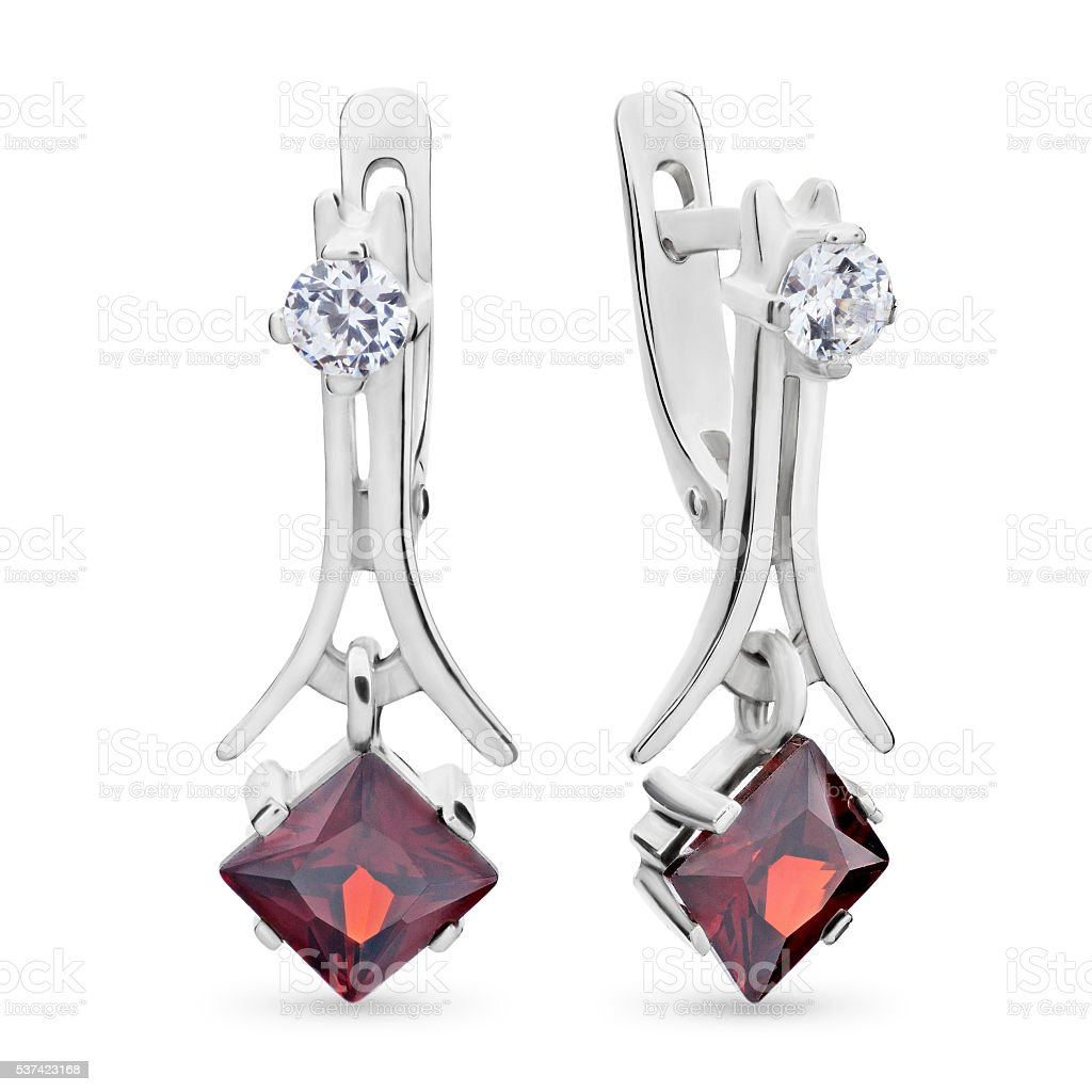 Close-up on red ruby and diamond earrings stock photo