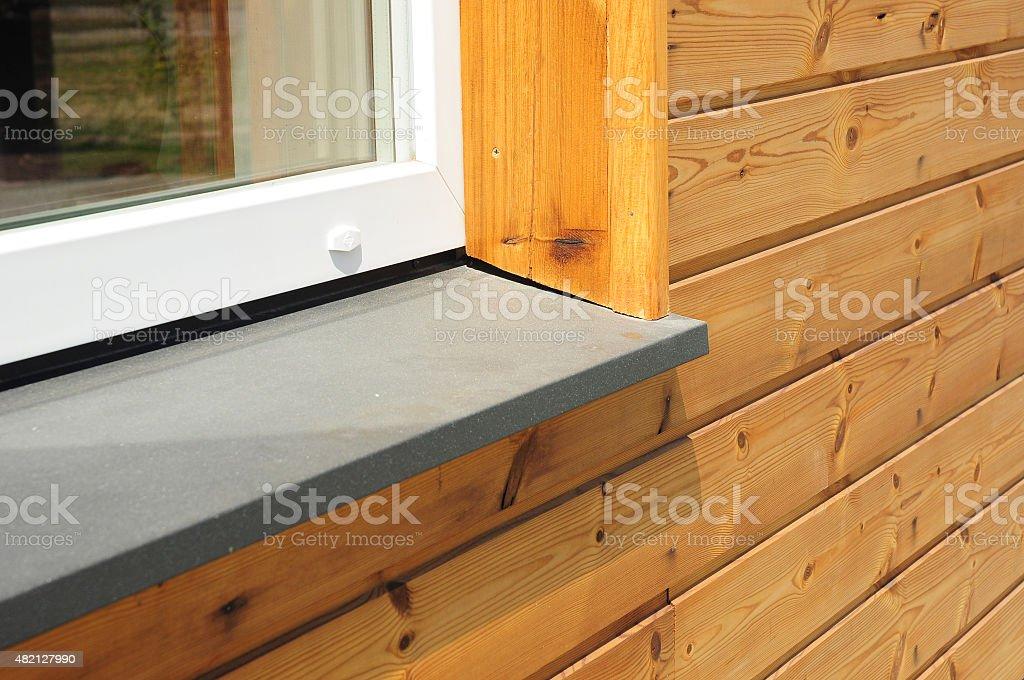 Close-up on single plastic window sill detail. Install window stock photo