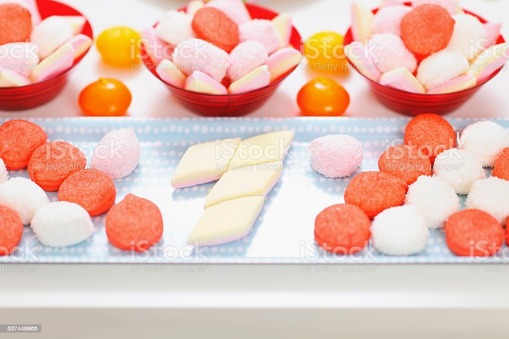 closeup on table with sweets stock photo