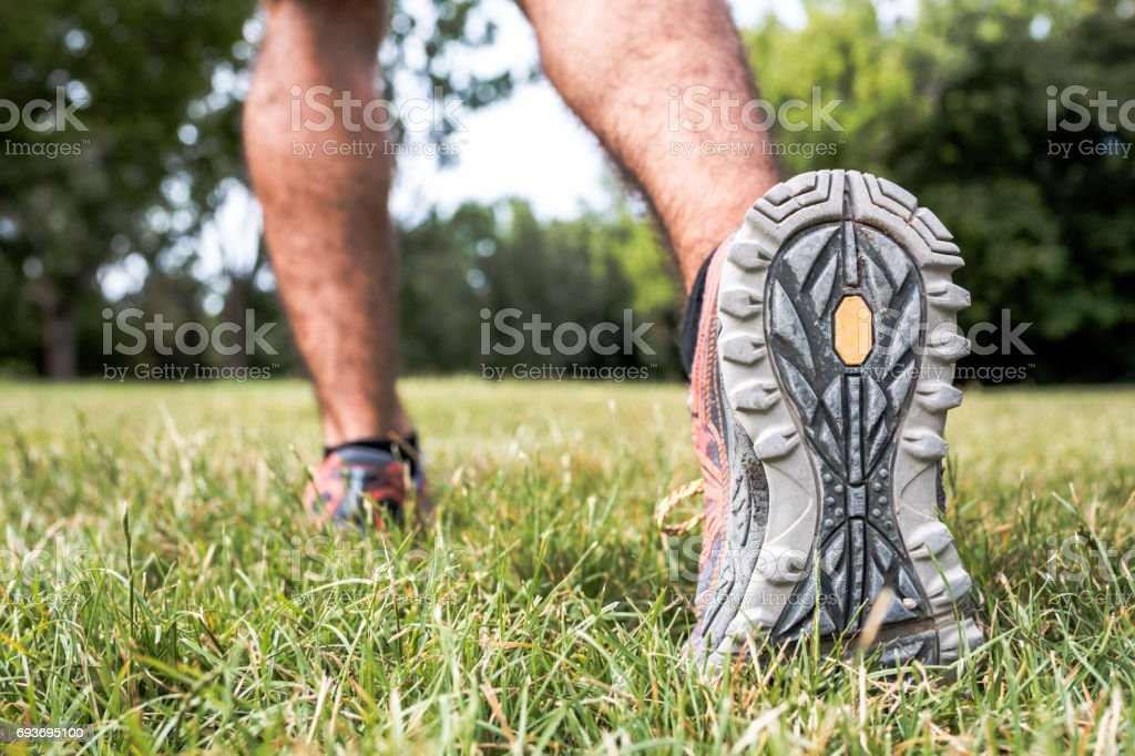 Close-up on the shoes of a jogger stock photo