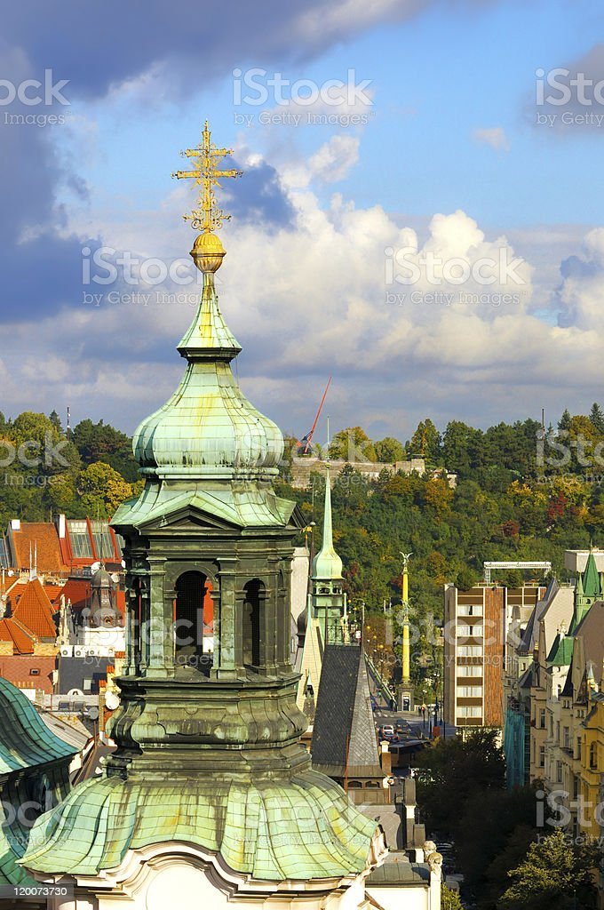 Closeup on tower of St. Nicolas Church in Old Prague royalty-free stock photo
